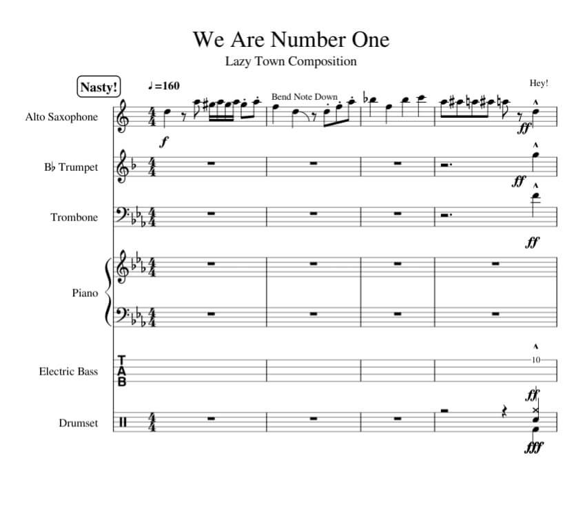 we are number one sheet music_lazy town_kongashare.com_mn