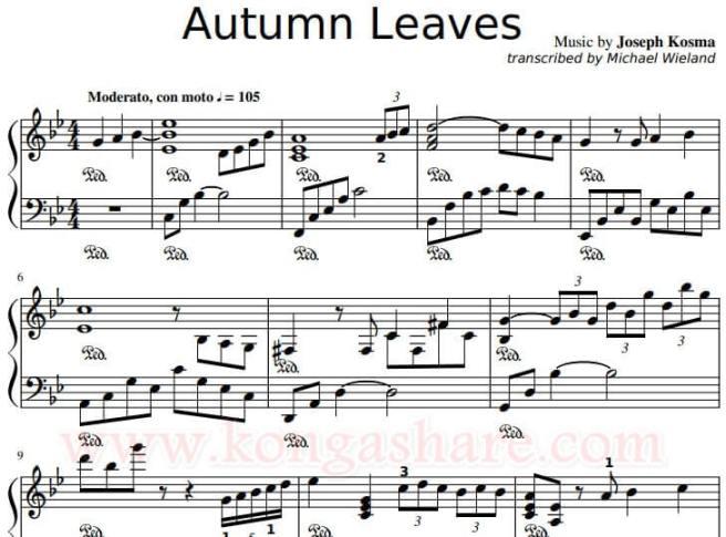 Autumn Leaves sheet music_kongashare.com_m