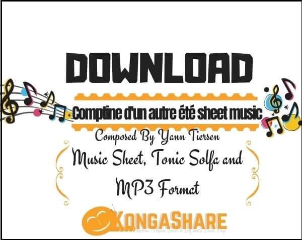 Comptine d'un autre été sheet music_kongashare.com_mx
