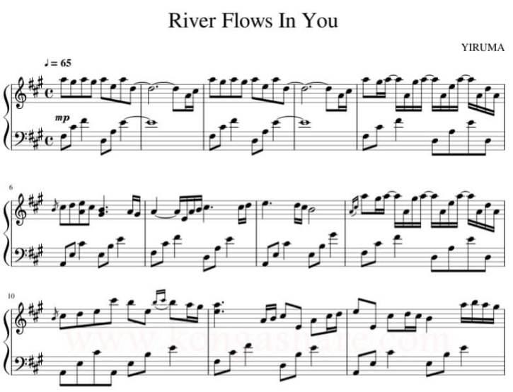 yiruma river flows in you piano sheet music midi pdf_kongashare.com_mw