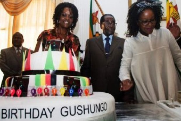 "President Robert Mugabe and his wife Grace at his ""surprise"" birthday party at State house"