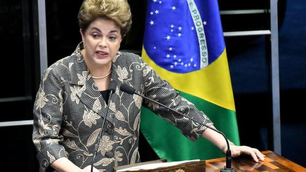 Brazil's president, Dilma Rousseff,  testifying at her own impeachment trial, in Brasília, Monday3.jpg
