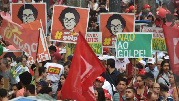 Brazilians march to support Rousseff against 'coup'