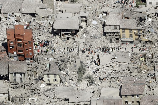 Italian earthquake16:  The brunt of the damage -Only a few buildings appeared to still be intact in Amatrice