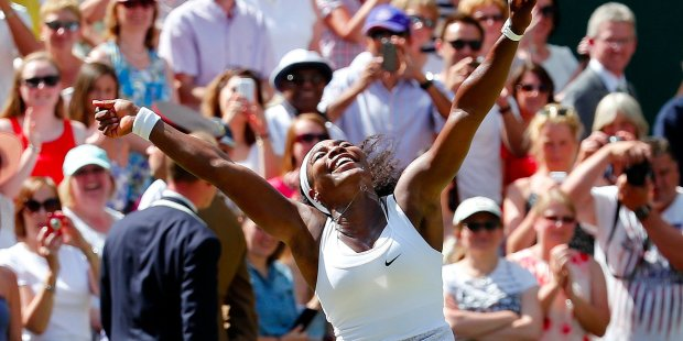 Serena Williams after winning the Wimbledon Tennis Championships in London in 2015 for her 22 major.png
