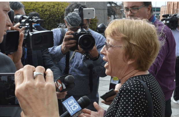 Aaron Quinn's mother Marianne addressing the press outside court .png