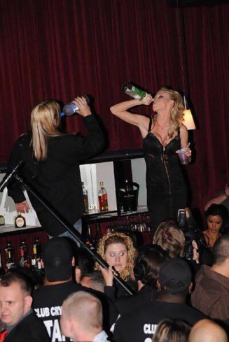 Crystal Bassette drinking and partying