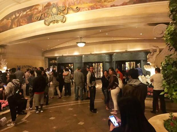 Several people milling around after the robbery at the Bellagio