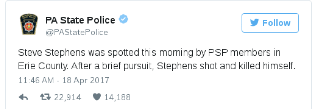 PA stste police announce the death of Stephens