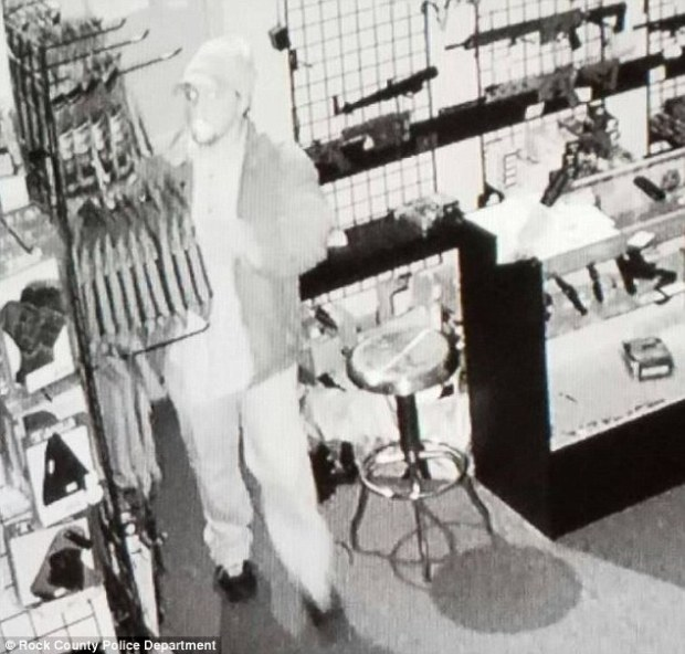 Police release shots of Jakubowski believed to be the man seen in this surveillance video of a gun shop burglary in Janesville, Wisconsin on April 4