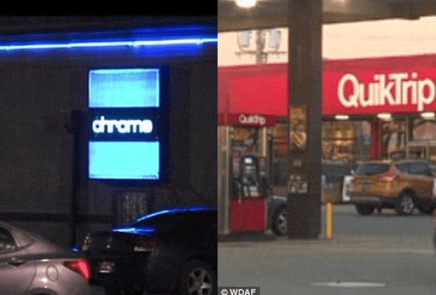 Andrson left her job at Chrome lleft], before she was stopped a short time later by a police officer who pulled her black 2014 Ford Focus over on 9-Highway near a QuikTrip gas station [right].png