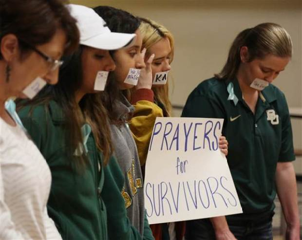 Current and former Baylor students hold a rally warning of sexually assaults on and off campus, Friday, June 3, 2016, in Waco, Texas..jpg