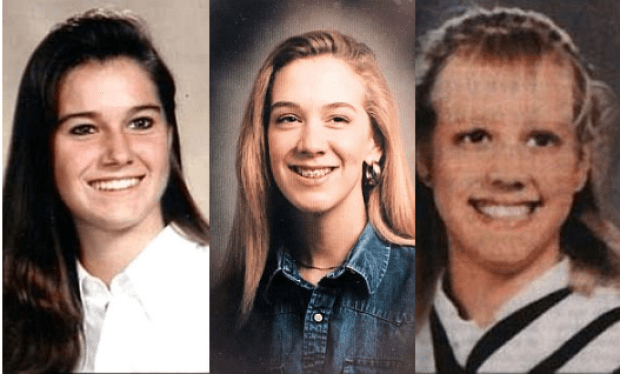 Homolka victims: L-R Kristen French (left) and Leslie Mahaffy (center). She also played a role in the death of her 15-year-old sister Tammy (right)