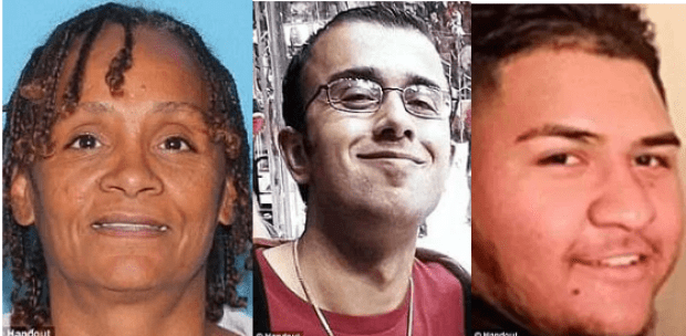 Krystal Annette White [left]  was shot on April 19.  Horacio De Jesus Pena [center], was murdered on June 3  and Manuel Castro Garcia [right] was killed a week later on June 10.png