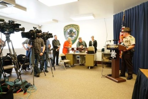 Oxford County Sheriff Wayne J. Gallant speaks to reporters Thursday in announcing that deceased TV weatherman Tom Johnston was the lone suspect in a reported sexual assault in Newry.jpg