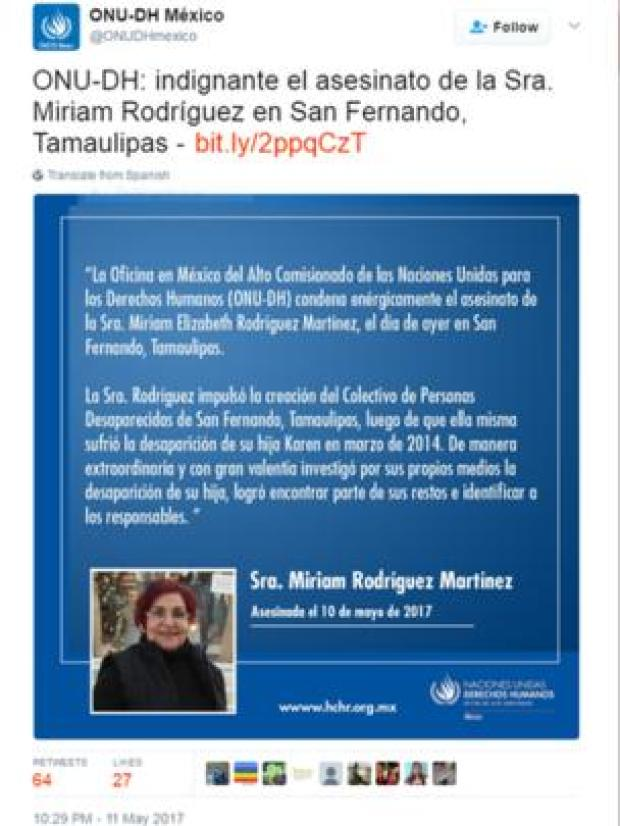 The UN in Mexico tweeted its condemnation of the murder1.png