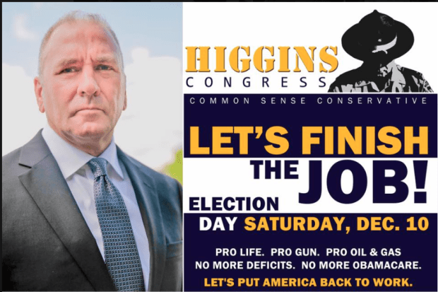 Clay Higgings in his 2016 campaign poster