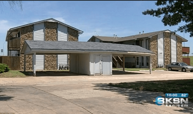Crime scene: Cops say the Corbin entered a second-floor apartment in Wichita, Kansas, removed the victim from a bedroom and proceeded to rape her on an outdoor balcony1.png