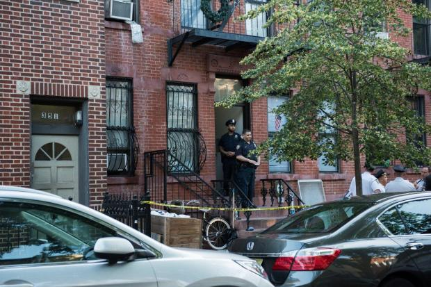 Police on the scene where a man was attacked and stabbed to death after a threesome went terribly wrong in Brooklyn, NY Monday June 19, 2017