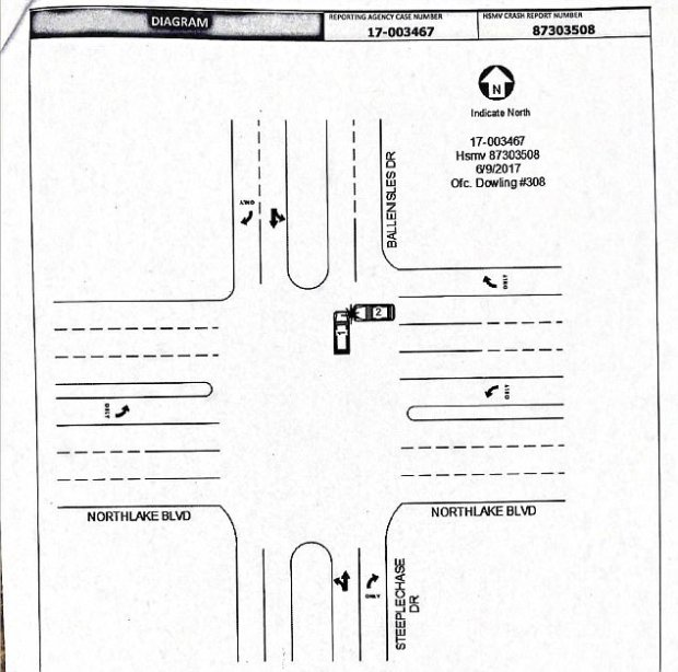 Diagram prepared by police shows how the car driven by Jerome Barson's widow, Linda, hit Venus Williams' car in the junction.jpg