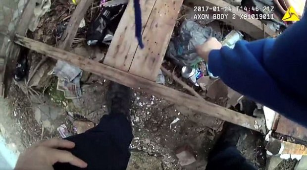 The video starts by showing the officer appear to reach down and plant a bag of drugs inside a discarded soup can