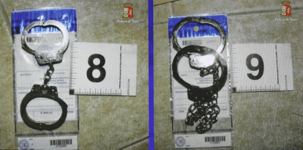 Two pairs of handcuffs were among the evidence which was seized by police following the discovery of the kidnapped model.png