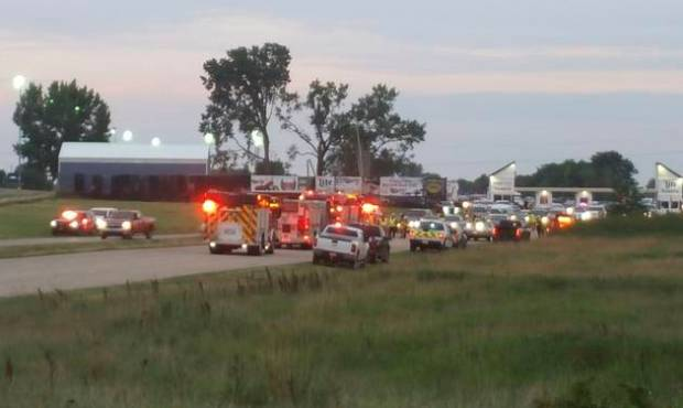 Emergency response vehicles gather at Great Lakes Dragaway on Sunday, Aug. 13, 2017, near Union Grove, Wis..jpg