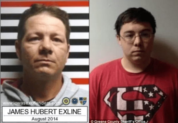 James Exline [left], was also arrested  for allegedly molesting his own daughter, Paige. 19-year-old Noah Exline.png