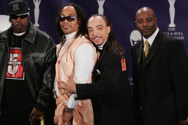 Nathaniel'Kidd Creole' Glover [second right], with other members of Grandmaster Flash inducted into rock and roll hall of fame