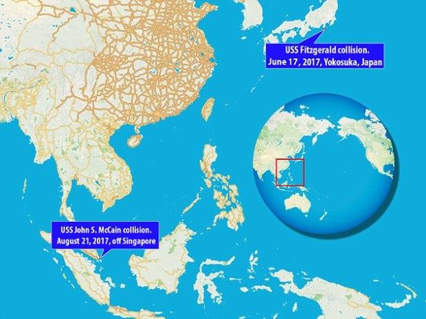 MAP USS John McCain USS Fitzgerald