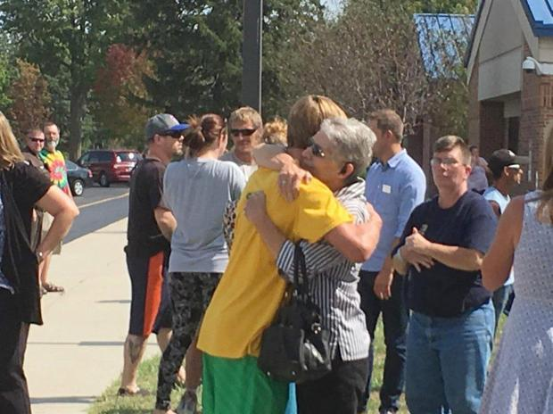 Members of the public outside Matton High school after shooting incident, Sept 20.jpg