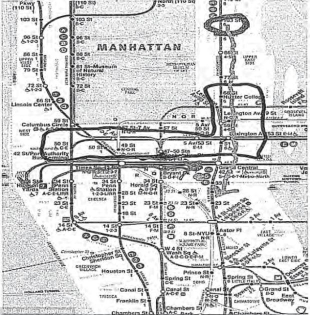 El Bahnasawy also sent this image of the NYC subway to the undedrcover agent, modified with circles and arrows. 'The 2 subways we will blow up will be the purple one, and the green one,' he wrote in one message.jpg