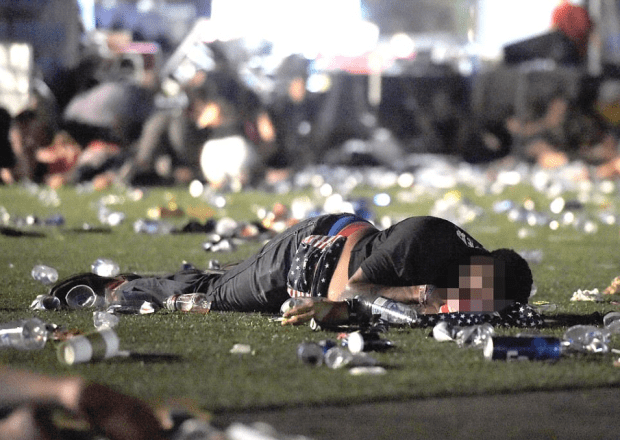 Horror scene as the dead and injured litter the ground after the shooting at the Las Vegas country music festival on Sunday 2