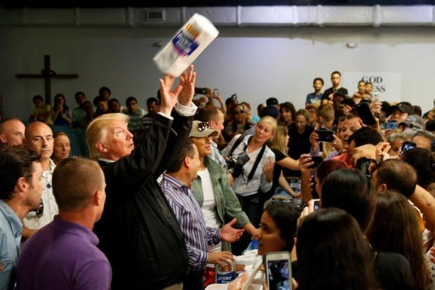 President Trump tossing paper towel rolls in San Juan during his visit to Puerto Rico.jpg