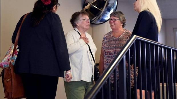 Roberta Fitzpatrick (center) Alycia Mesiti's Maternal great aunt reacts after Mark Edward Mesiti's plea Tuesday.jpg