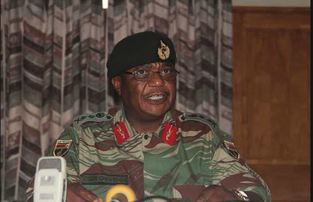 Head of the armed forces Constantino Chiwenga, openly threatened to intervene in politics .png