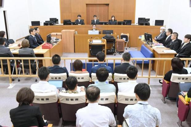 The Naha District Court is seen in session Thursday during the first hearing for KennethShinanzaro, Nov 16, 2017.jpg