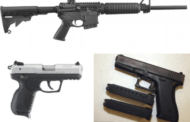Above, examples of the three types of guns police found after the massacre. A Ruger .556 rifle (top) was left behind at the church, a Ruger .22 (bottom left) and Glock 9mm (bottom right) were recovered in the suspect's car.png