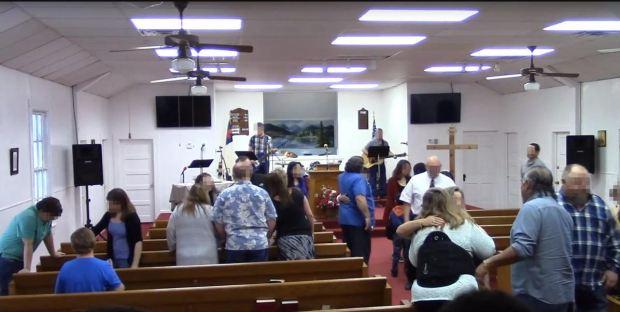 Church service inside The first baptist church in Sutherland, TX.JPG