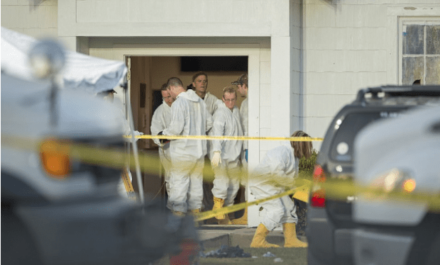 Forensics investigators work at the crime scene of a deadly shooting at the First Baptist Church in Sutherland Springs, Texas.png