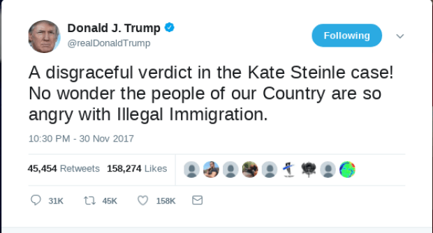 Donald Trump tweet on Kate Steinle verdict.png