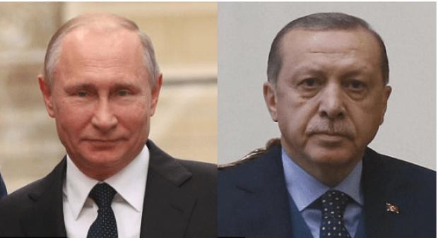 Russia president Vladimir Putin andTurkey president Recep Tayyip Erdogan [right]