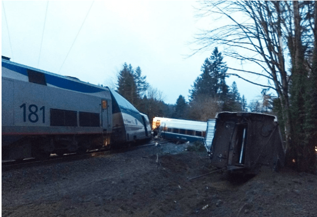 Train 501 was going south when it derailed while crossing a bridge over Interstate 5 near Olympia, Washington , causing at least one car to fall onto the freeway below Dec 18,2017 3.png