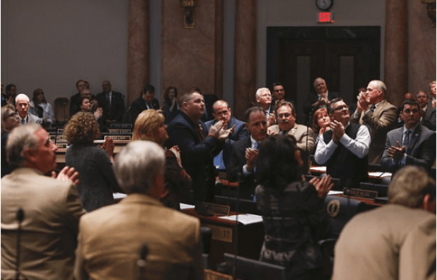 Kentucky General Assembly applauds Hoover's wife, Karyn Hoover, who was in attendance for the speaker's farewell speech 1.png