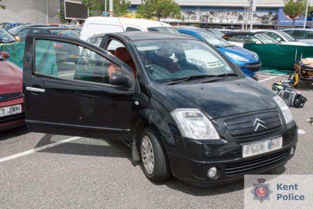 Molly McLaren's Citroen C2 at the scene of the murder in the car park of the Dockside retail outlet in Chatham.jpg