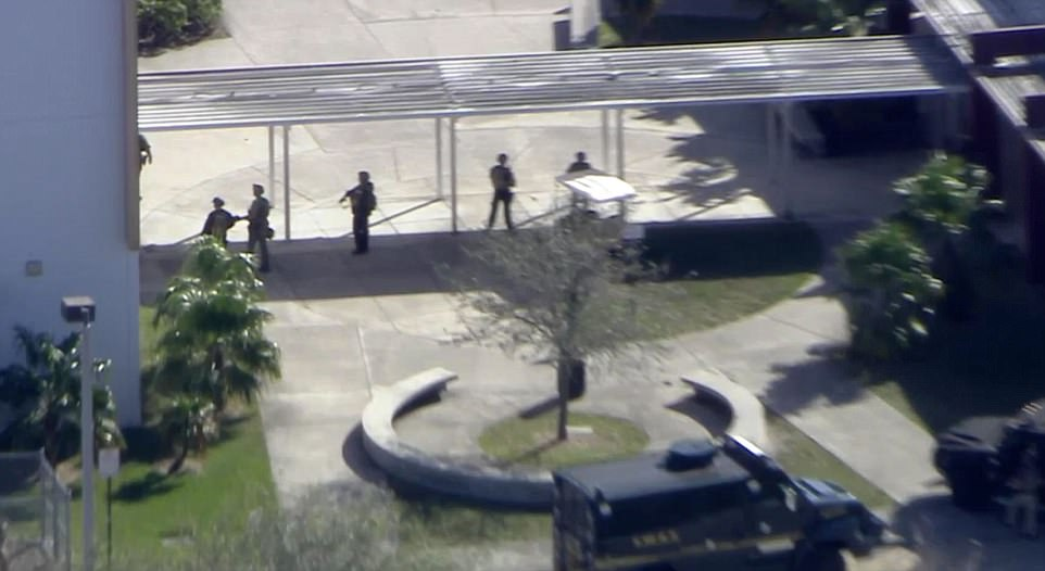 Police presence on campus after the shooting at Majory Stoneman Douglas High School is located in Parkland, west of Boca Raton, in Florida.jpg