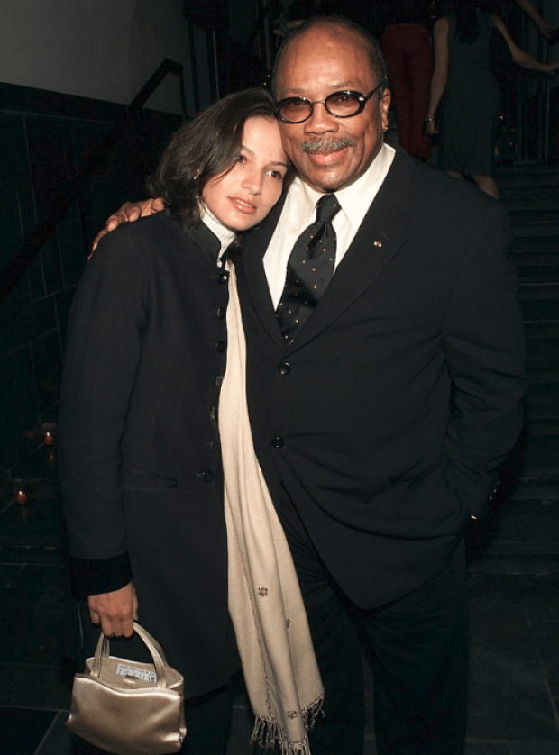 Quincy Jones in 2001 with then-girlfriend Lisette Derouaux