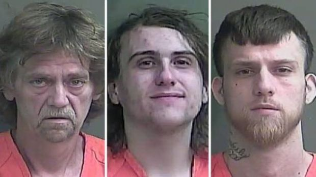 Previous mugshots, according to Fox 59, of John Baldwin Sr. (left), Anthony Baumgardt (middle), John D. Baldwin Jr. (right) 1.jpg