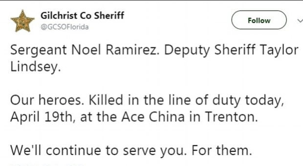 Gilchrist Sheriff's office confirm death of officers Noel Ramirez and Taylor Lindsey 1.PNG