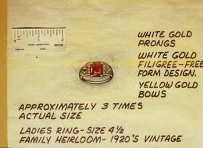 women's ring recovered James DeAngelo's home, believed to be a stolen family heirloom